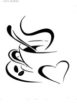 Vinyl Decal Sticker... Coffee Cup With  Heart - $5.45