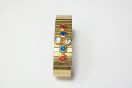 Red White And Blue Rhinestone Vintage Gold Expandable Stretch Cuff BRACELET  - $24.75