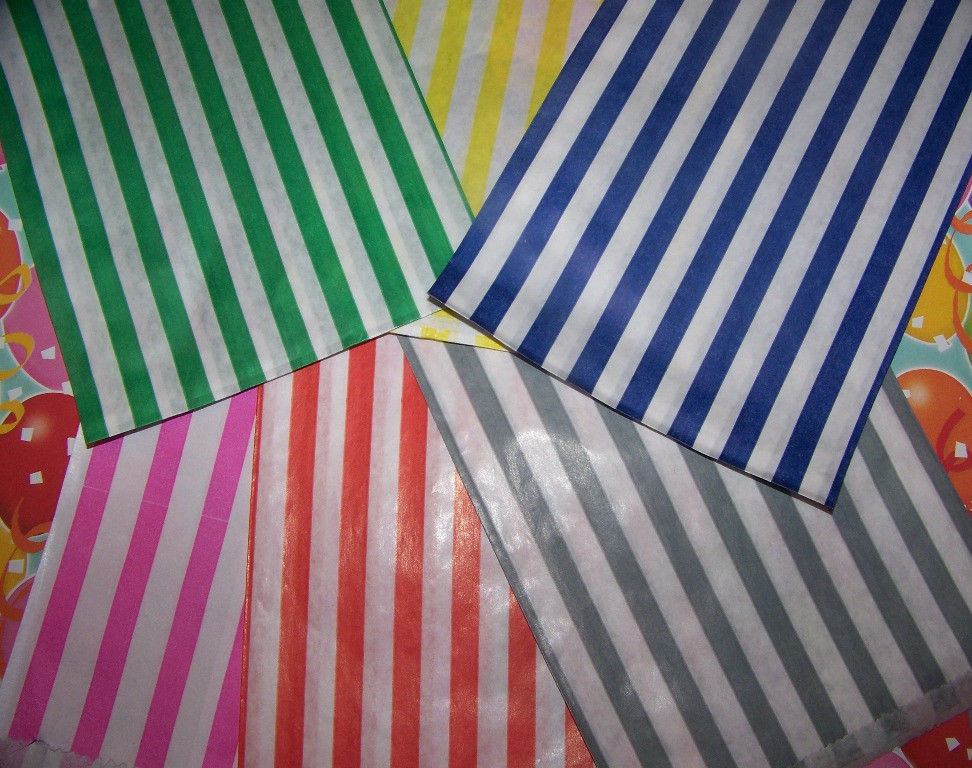 Primary image for Striped Candy Goodie Bags-Peanut Bags-Party Bags~You Pick Your Colors~Fast Ship!