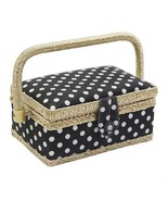 Sewing Storage Basket Polka Dot Cotton Fabric Crafts Thread Needle Box O... - $18.58