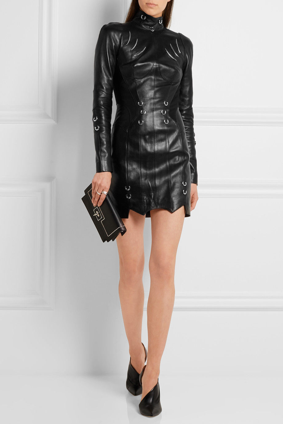 ASYMMETRICAL HEM DETAILED COCKTAIL WOMEN NEWLY ARRIVED REAL LEATHER DRESS