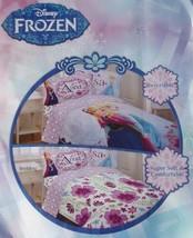 Disney Frozen Movie Anna Elsa Floral Purple Twin Comforter Sheets Bedding New - $122.10