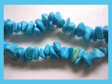 """Natural Blue Turquoise Polished Gemstone 34"""" Strand Necklace"""