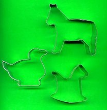 Lot of 3 Metal Cookie Cutters ck7 - $4.00