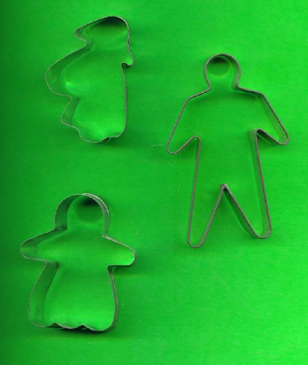 Lot of 3 Metal People Cookie Cutters ck6