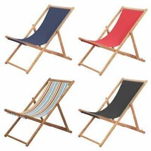 vidaXL Folding Beach Chair Fabric Wood Frame Outdoor Lounge Seat Multi C... - $63.99+
