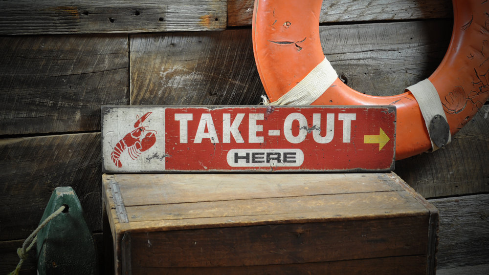 Primary image for Lobster Take-Out Here Sign - Rustic Hand Made Vintage Wooden Sign ENS1000343