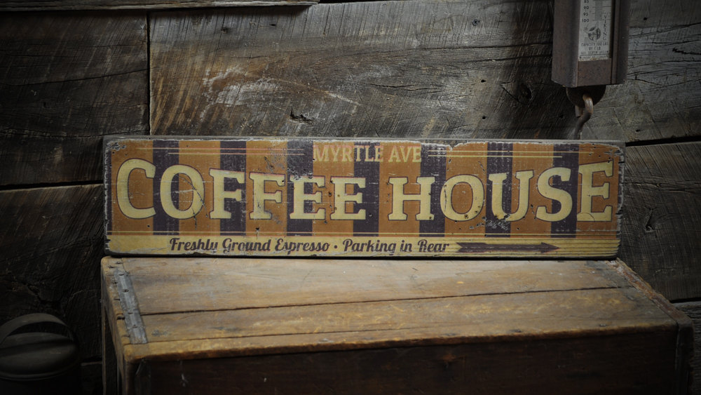 Primary image for Personalized Coffeehouse w/ Arrow Sign - Rustic Hand Made Vintage Wooden Sign EN