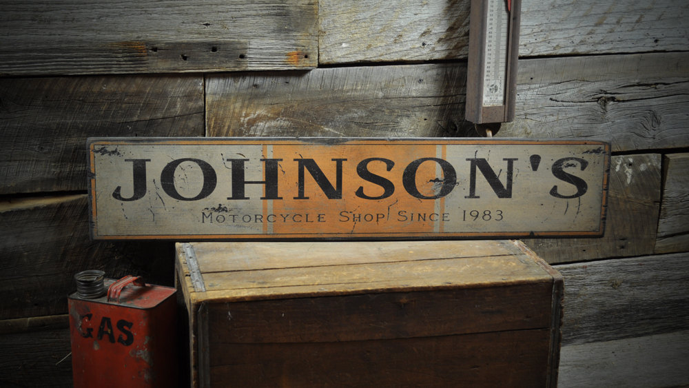 Primary image for Custom Motorcycle Shop Date Sign - Rustic Hand Made Vintage Wooden Sign ENS10003