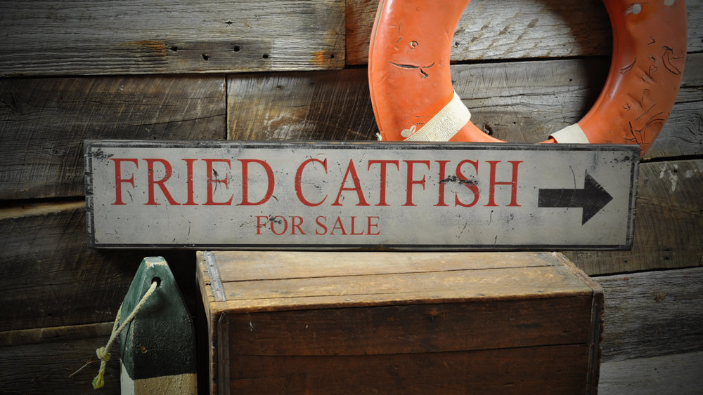 Primary image for Fried Catfish For Sale Arrow Sign - Rustic Hand Made Vintage Wooden Sign ENS1000