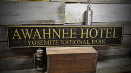 Custom Hotel National Park Sign - Primitive Rustic Hand Made Vintage Woo... - $54.00