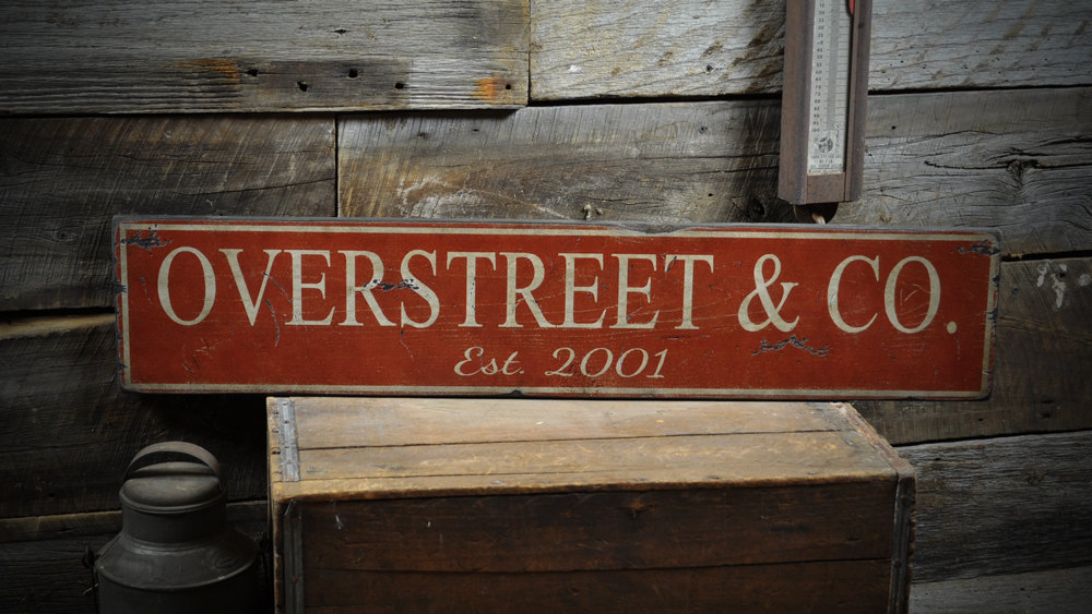 Primary image for Custom Business Est. Date Sign - Primitive Rustic Hand Made Vintage Wooden ENS10