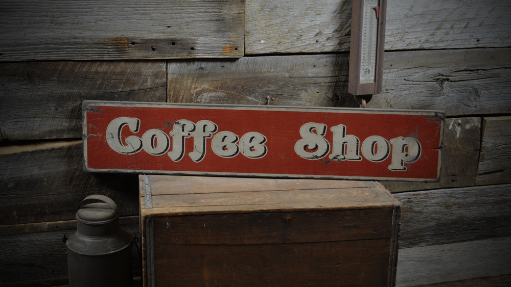 Primary image for Distressed Coffee Shop Sign - Primitive Rustic Hand Made Vintage Wooden ENS10002