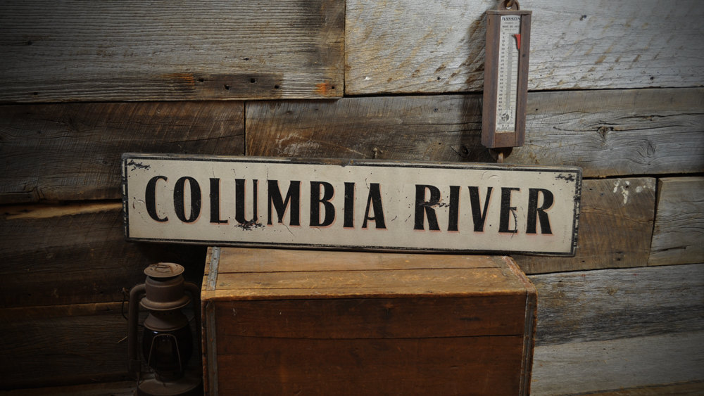 Primary image for Custom Primitive River Sign - Rustic Hand Made Vintage Wooden ENS1000259