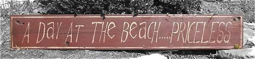 Primary image for A Day At The Beach... Priceless Wood Sign - Rustic Hand Made Vintage Wooden Sign