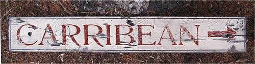 Primary image for Carribean Directional Wood Sign - Rustic Hand Made Vintage Wooden Sign WWS000137