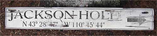 Primary image for Jackson Hole - Latitude & Longitude Directional Wood Sign - Rustic Hand Made Vin