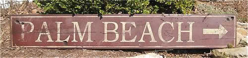Primary image for Palm Beach Directional Wood Sign - Rustic Hand Made Vintage Wooden Sign WWS00020