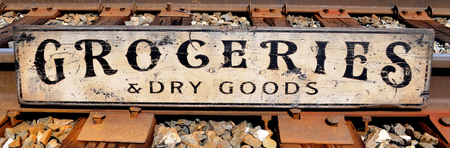 Primary image for Groceries & Dry Goods Wood Sign - Rustic Hand Made Vintage Wooden Sign WWS000279