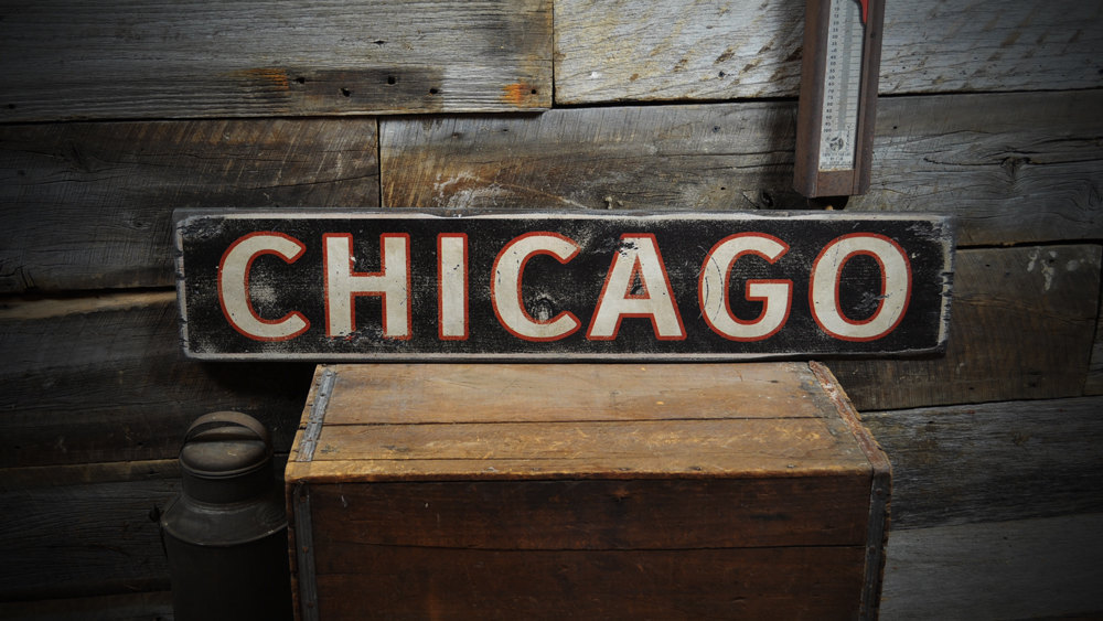 Primary image for Custom City Chicago Wood Sign - Rustic Hand Made Wooden ENS1000224