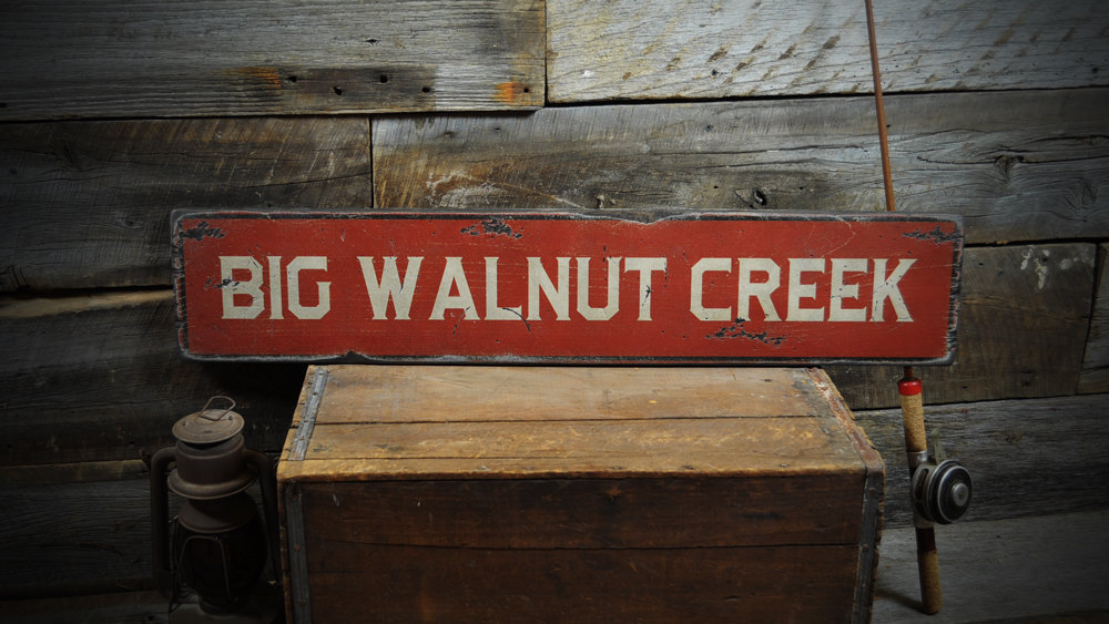 Primary image for Custom Creek / River Wood Sign - Rustic Hand Made Vintage Wooden ENS1000212