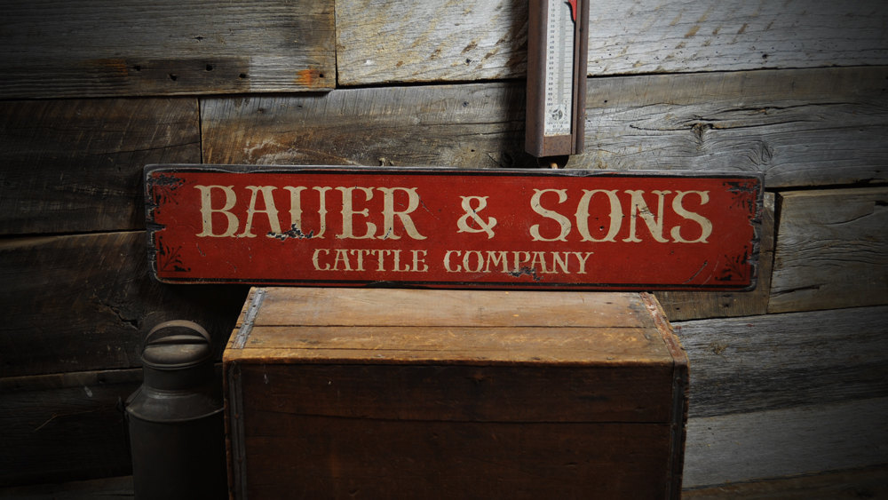 Primary image for Custom Cattle Company Wood Sign - Rustic Hand Made Vintage Wooden ENS1000197