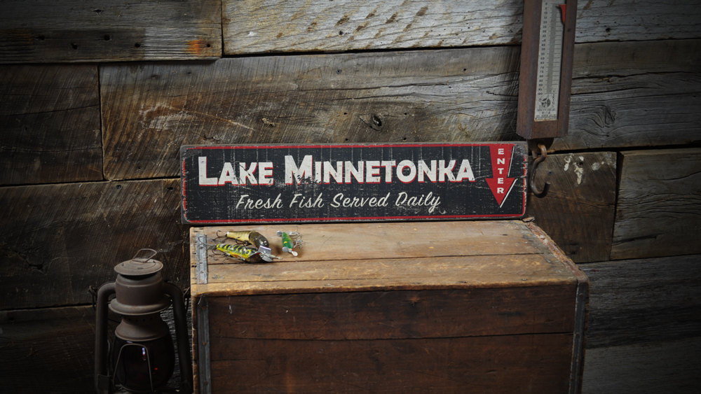 Primary image for Personalized Fresh Fish Served Daily Enter Lake House Sign - Rustic Hand Made Vi