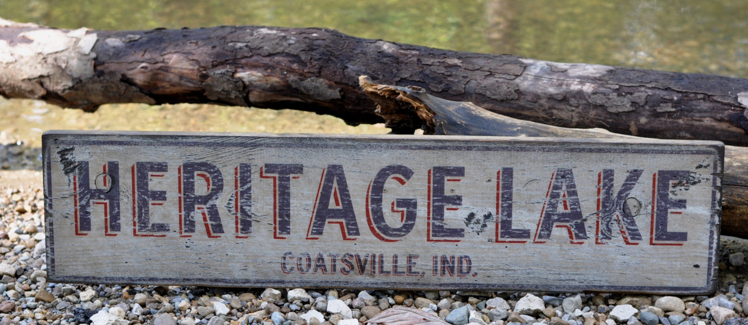 Primary image for Personalized Lake and City, State Lake House Sign - Rustic Hand Made Vintage Woo