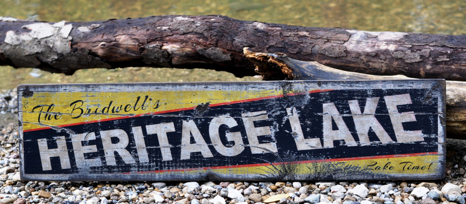 Primary image for Personalized It's Lake Time Lake House Sign - Rustic Hand Made Vintage Wooden Si