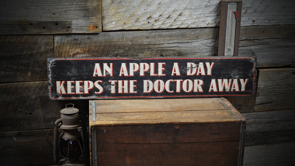 Primary image for An Apple A Day Keeps The Doctor Away - Rustic Hand Made Vintage Wooden Sign ENS1