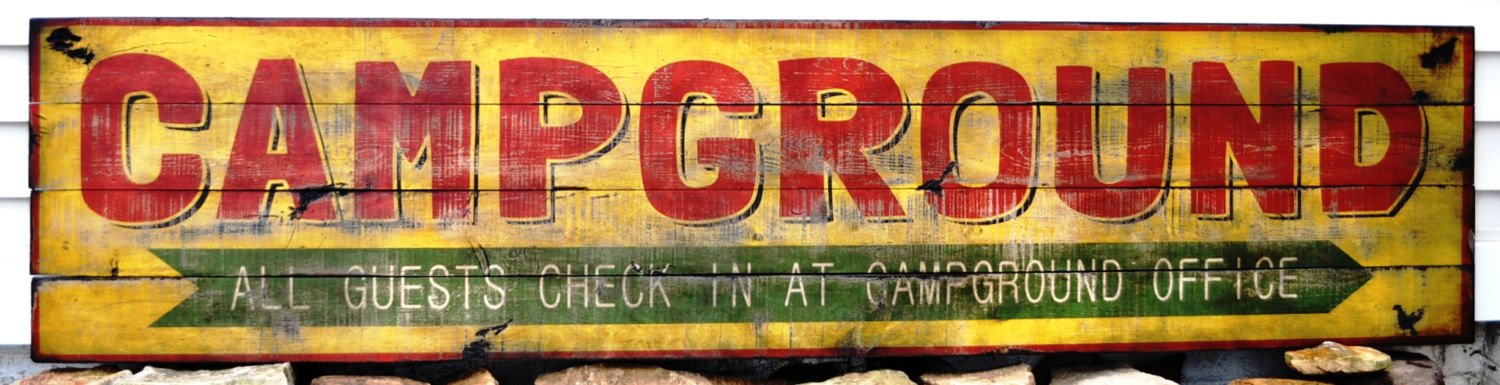 Primary image for Campground Wood Sign - Rustic Hand Made Vintage Wooden Sign WWS000093