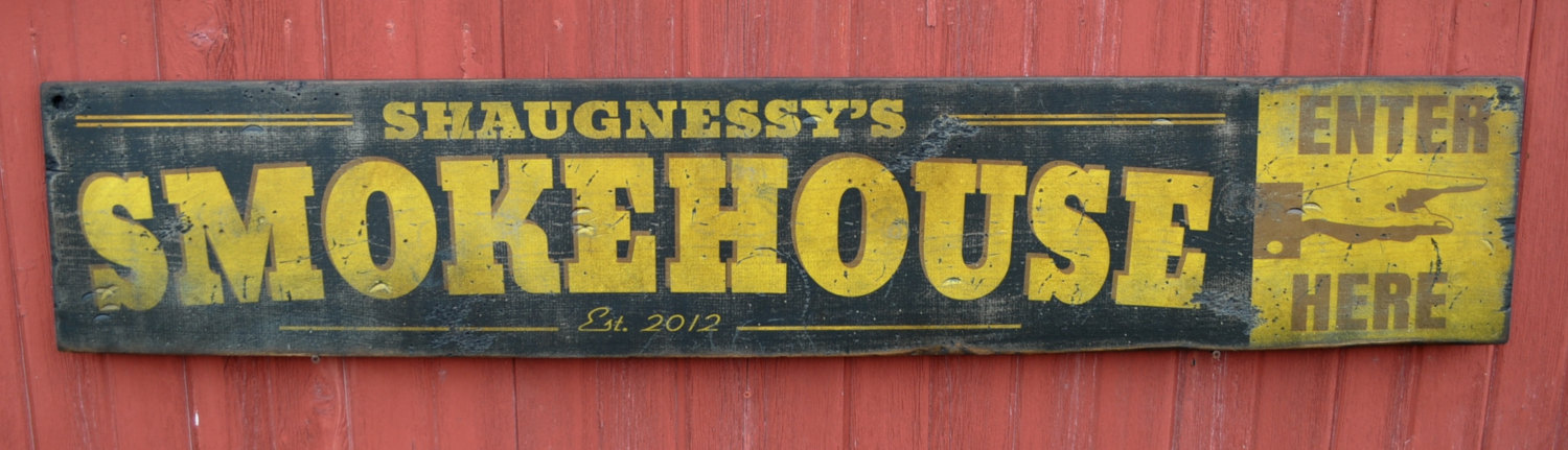 Primary image for Personalized Smokehouse - Established Date Wood Sign - Rustic Hand Made Vintage