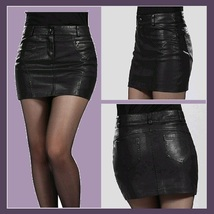 Black Faux Patent Leather Open Fly Hip Mini Skirt with Pockets