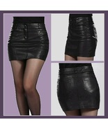 Black Faux Patent Leather Open Fly Hip Mini Skirt with Pockets  - $64.95