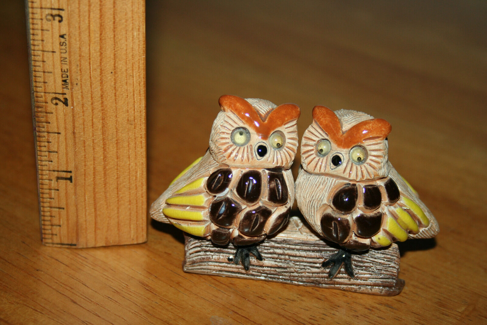 Owls on Log Figurine Two Owls on a Log with Googly Eyes Ceramic Figurine