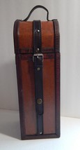 Wood Wine Box Carrying Case Leather Straps For Single Bottle Of Wine - $14.99