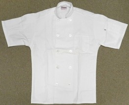 Chef Coat Jacket S Uncommon Threads 415 White Short Sleeve Uniform Blend New - $24.47