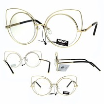 Nerd Gold Metal Round Circle Lens Cat Eye Clear Lens Glasses - $12.95