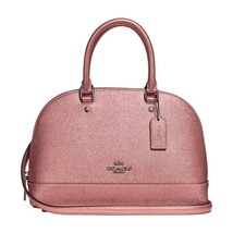 NWT COACH Mini Sierra Satchel Crossbody Bag Metallic Dusty Blush Pink F2... - $100.98