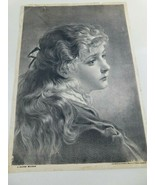 "Antique P.O.Vickery""A Saxon Maiden"" 1882 Picture Print  Augusta Maine - $34.99"