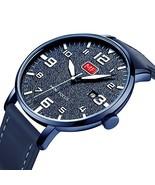 MINI FOCUS Modren Quartz Minimalist Leather Band Mens Wrist Wathes (Blue) - $23.53