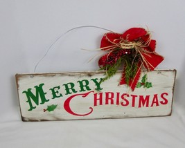 Merry Christmas Reclaimed Barn Wood Wall Sign Plaque Farmhouse Country H... - $23.75