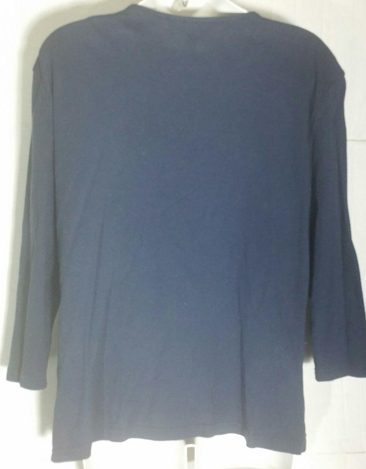 Karen Scott Top Large L Tunic Print Boho Silver Embellished Shirt Blue