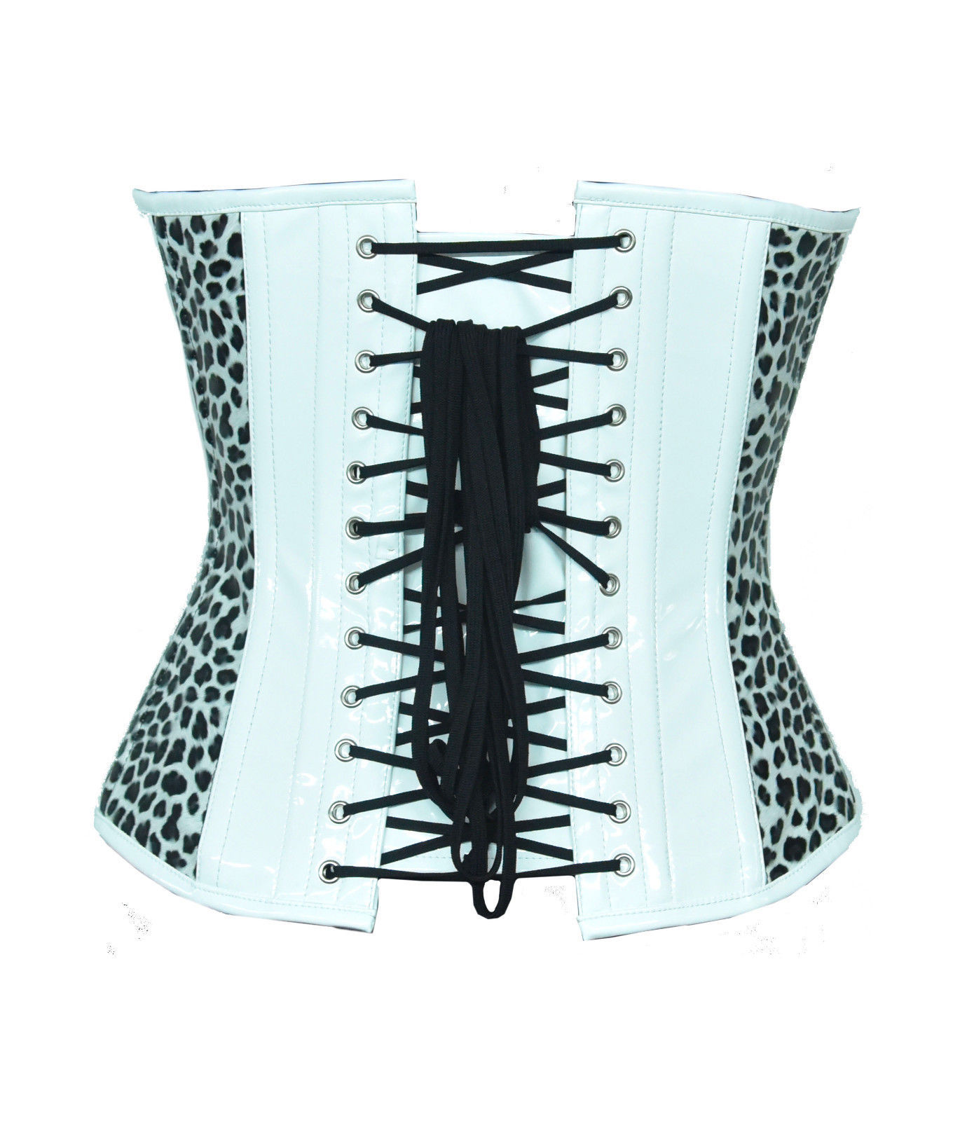 Black White Print Leather Gothic Steampunk Waist Cincher Bustier Overbust Corset