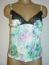 Nicole Miller cream satin stretch cami tank blue purple black lace-S/5-N... - $12.16