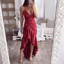 Laamei V Neck Long Dress Sexy Ruffle Backless Split Tunic Wrap Party Sat... - $18.10