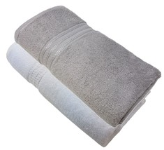 2 X Striped Hotel Quality Egyptian Cotton White Silver Bath Sheet Towel 600GSM - $43.92