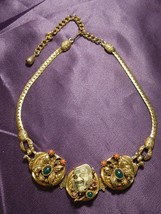 Vintage Gold Tone Necklace W/ Abstract Butterfly & Japanese Mask Pendant - $123.75