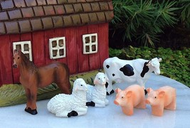 New Garden Decor Miniature Fairy Garden ~  6 set of animals farm cow hor... - $18.99