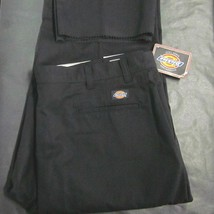 Dickies Nwt Mens 46UU Black Poly Blend Uniform Work Pants Unfinished Cuffs New - $25.38